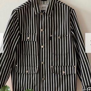 Ami Black/White striped denim jacket